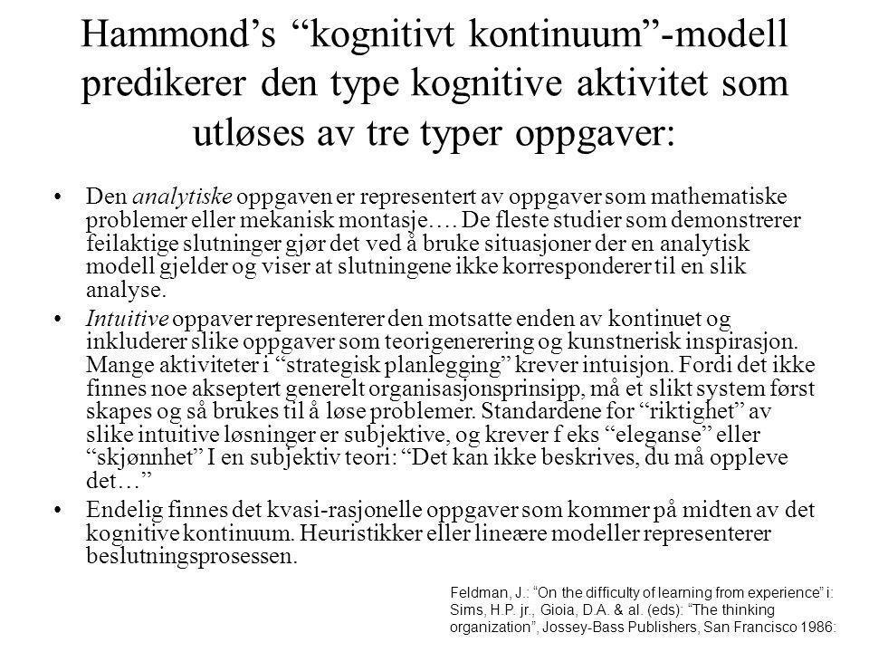 Hammond's kognitivt kontinuum -modell predikerer den type kognitive aktivitet som utløses av tre typer oppgaver: