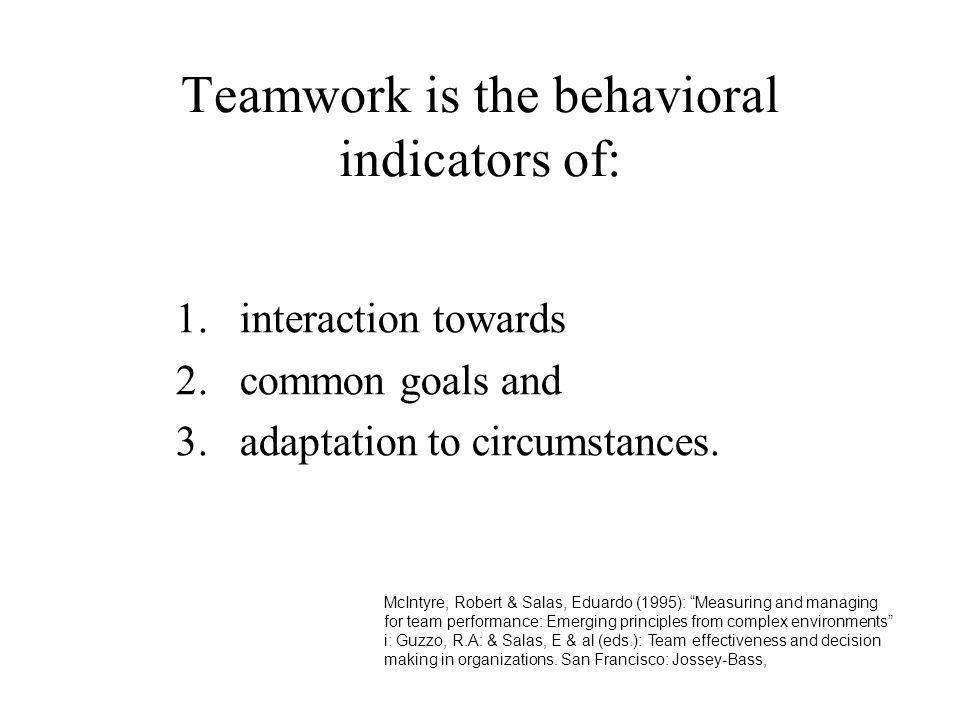 Teamwork is the behavioral indicators of:
