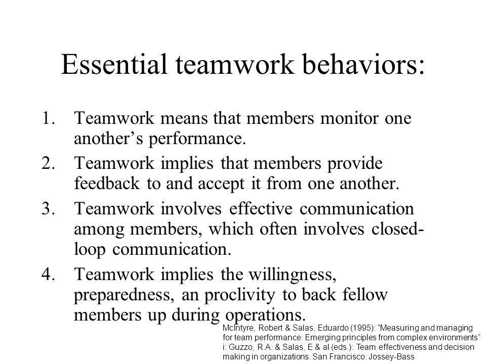 Essential teamwork behaviors:
