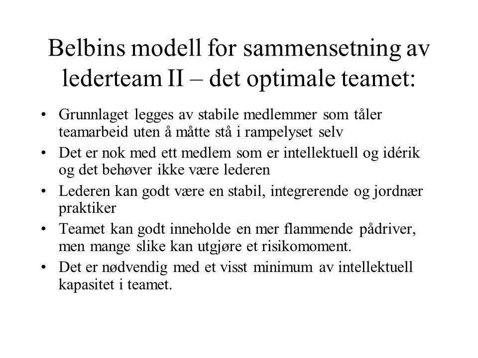 Belbins modell for sammensetning av lederteam II – det optimale teamet: