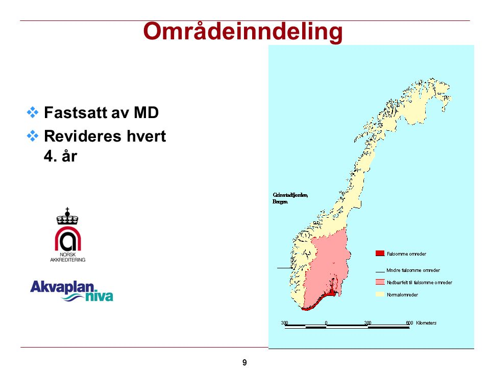 Områdeinndeling Fastsatt av MD Revideres hvert 4. år