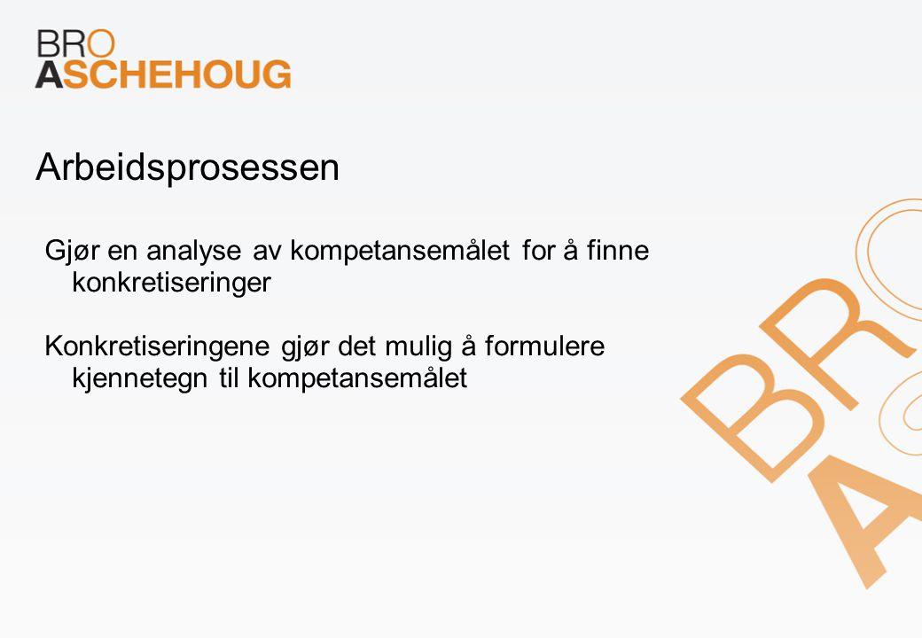 Arbeidsprosessen Gjør en analyse av kompetansemålet for å finne konkretiseringer.