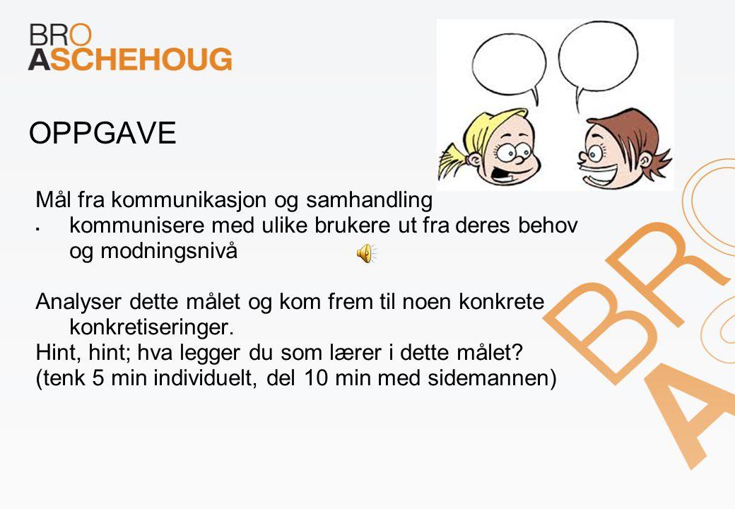 OPPGAVE Mål fra kommunikasjon og samhandling