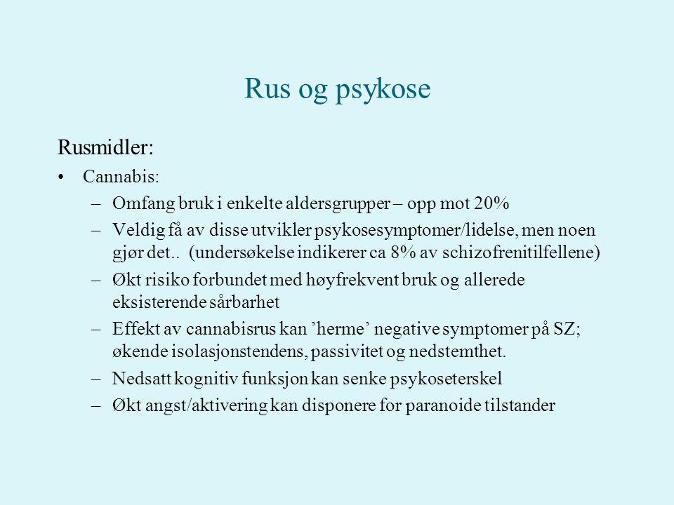 Rus og psykose Rusmidler: Cannabis: