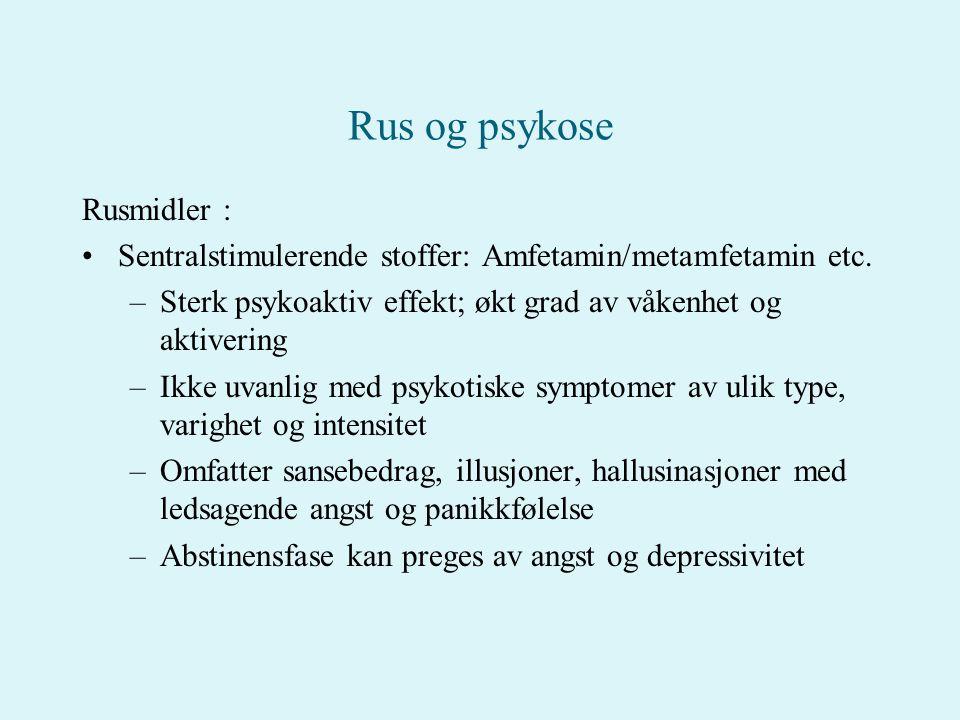 Rus og psykose Rusmidler :