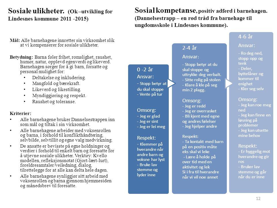 Sosiale ulikheter. (Ok –utvikling for Lindesnes kommune 2011 -2015)