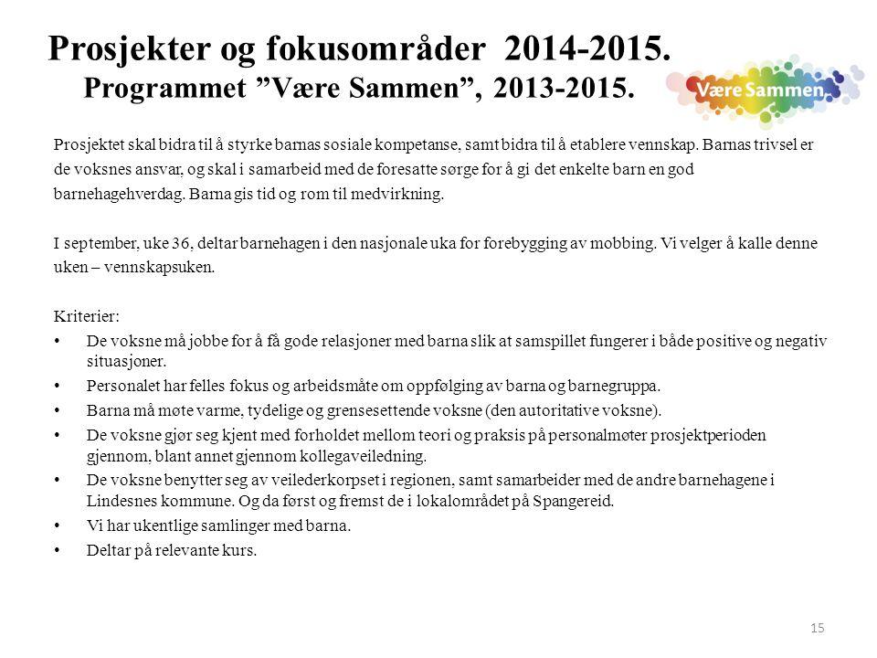 Prosjekter og fokusområder 2014-2015