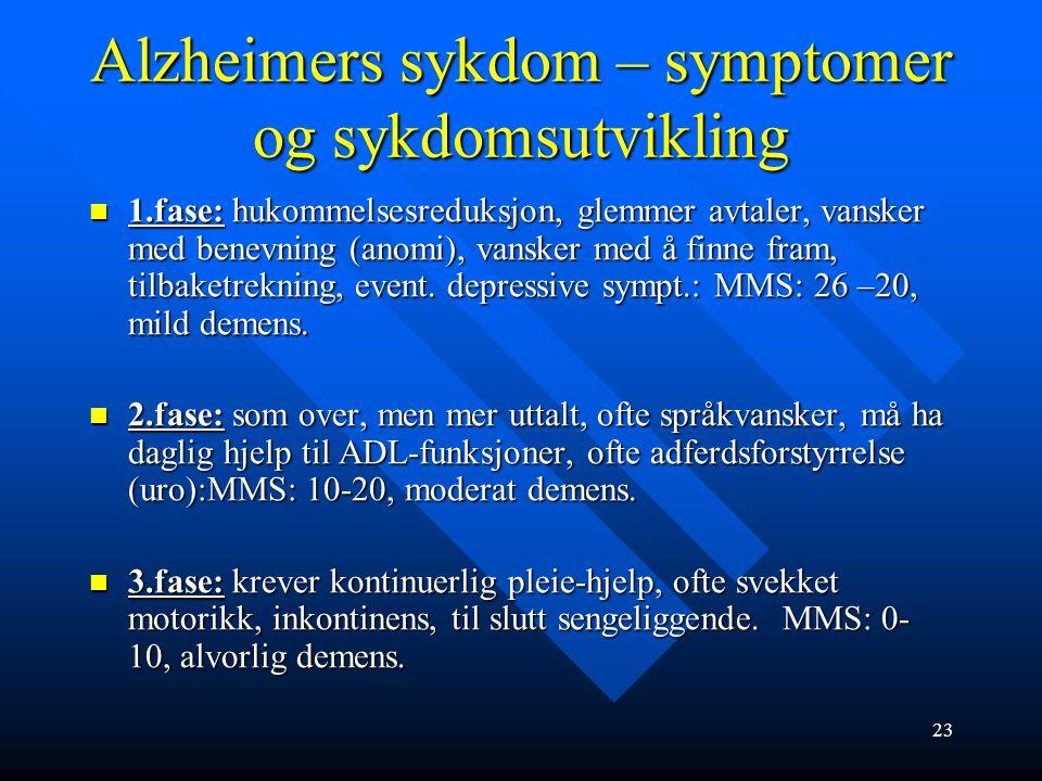 Alzheimers sykdom – symptomer og sykdomsutvikling