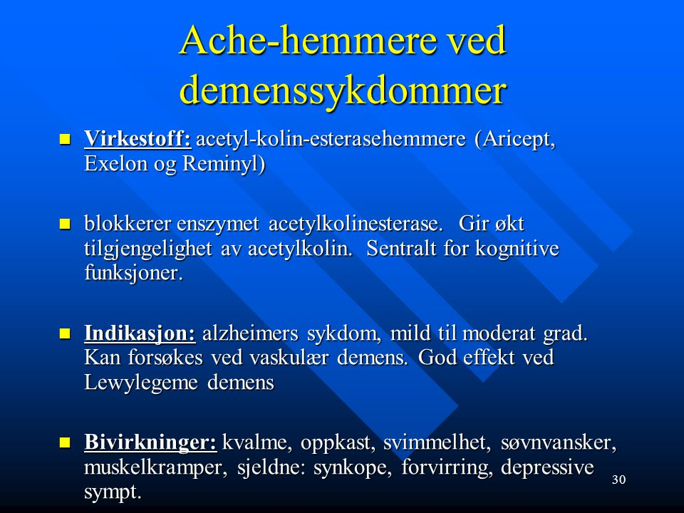 Ache-hemmere ved demenssykdommer