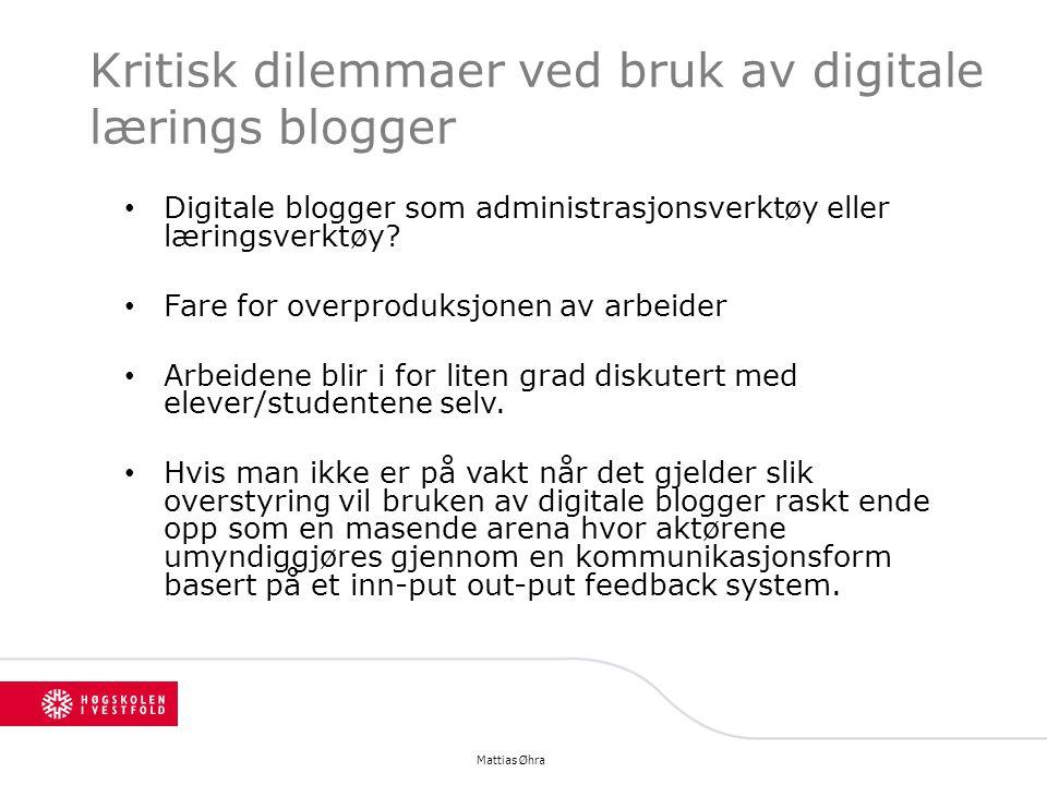 Kritisk dilemmaer ved bruk av digitale lærings blogger