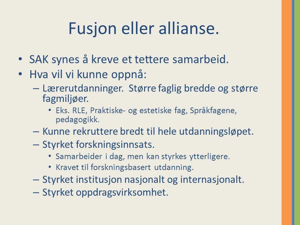 Fusjon eller allianse. SAK synes å kreve et tettere samarbeid.
