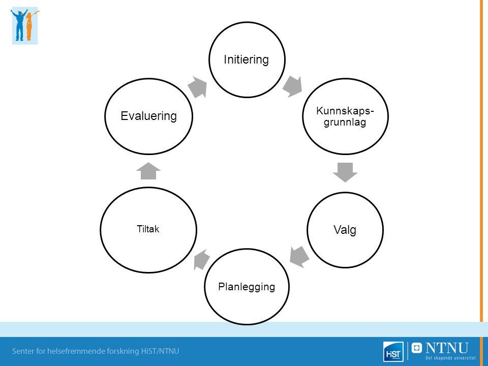 Initiering Kunnskaps-grunnlag Valg Planlegging Tiltak Evaluering