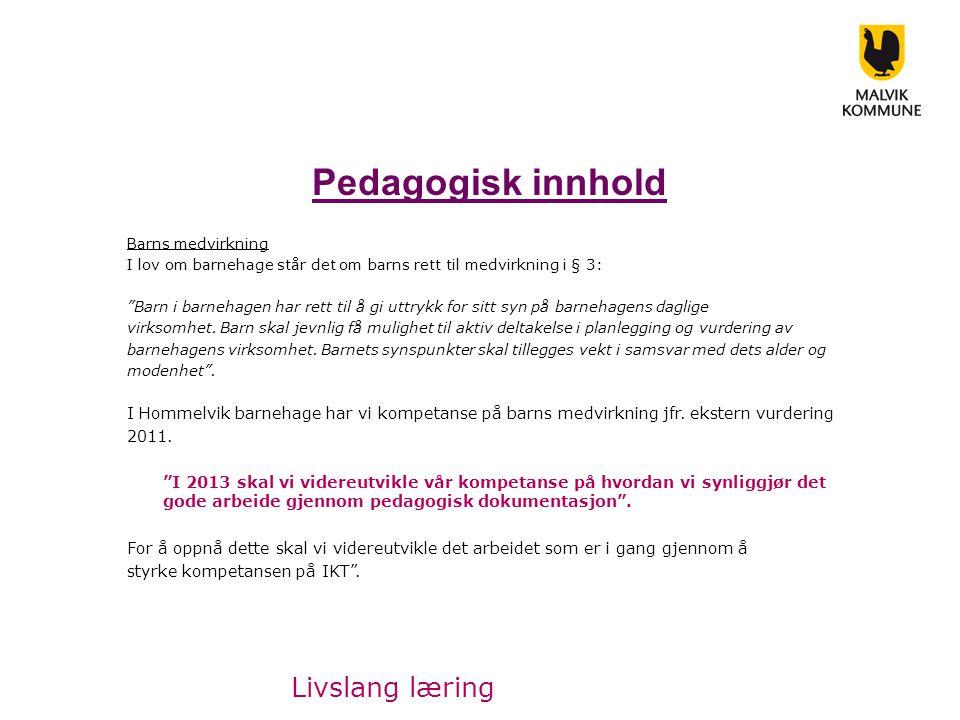 Pedagogisk innhold Livslang læring