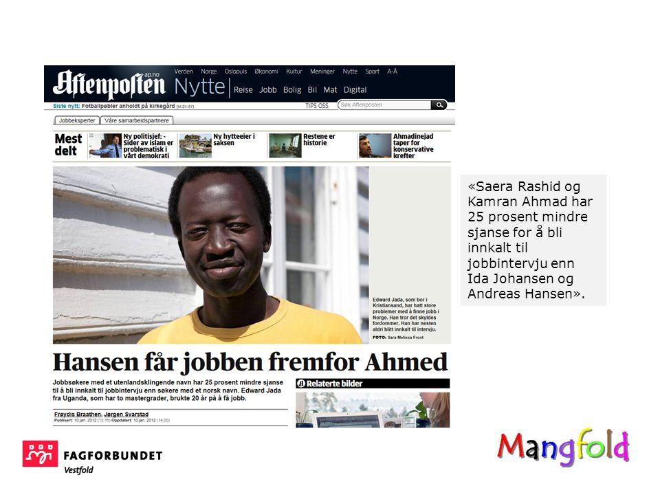 «Saera Rashid og Kamran Ahmad har 25 prosent mindre sjanse for å bli innkalt til jobbintervju enn Ida Johansen og Andreas Hansen».