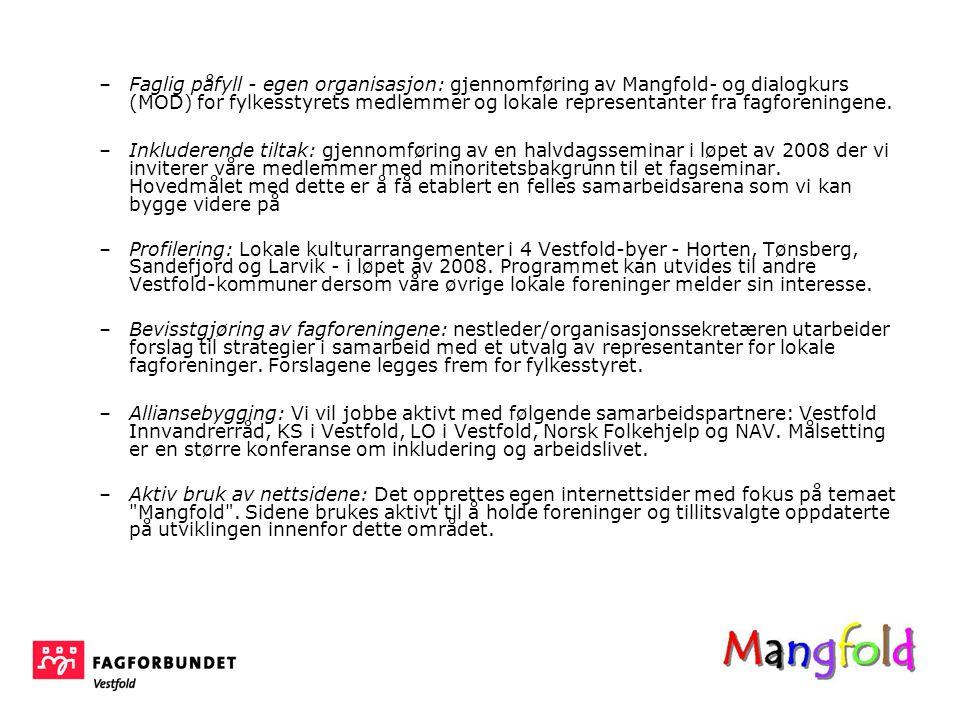 Faglig påfyll - egen organisasjon: gjennomføring av Mangfold- og dialogkurs (MOD) for fylkesstyrets medlemmer og lokale representanter fra fagforeningene.