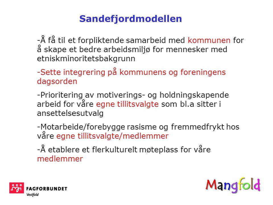 Sandefjordmodellen Å få til et forpliktende samarbeid med kommunen for å skape et bedre arbeidsmiljø for mennesker med etniskminoritetsbakgrunn.