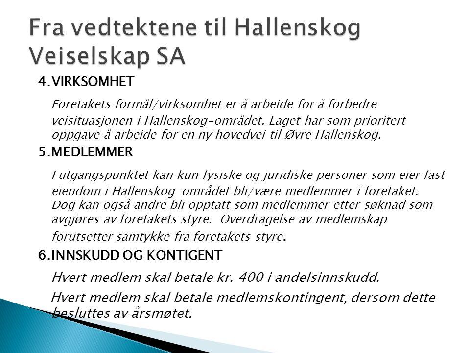 Fra vedtektene til Hallenskog Veiselskap SA