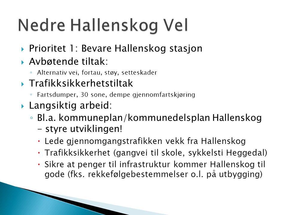 Nedre Hallenskog Vel Prioritet 1: Bevare Hallenskog stasjon