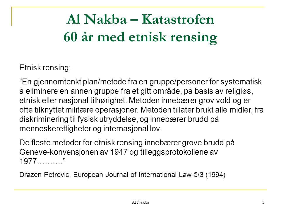 Al Nakba – Katastrofen 60 år med etnisk rensing