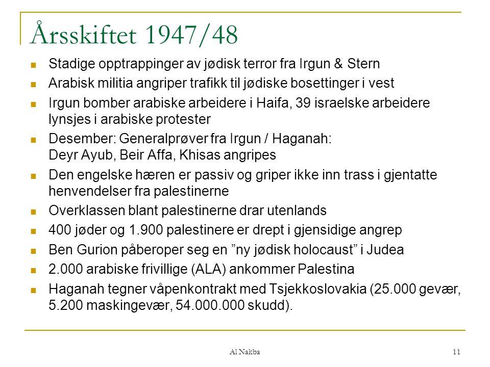 Årsskiftet 1947/48 Stadige opptrappinger av jødisk terror fra Irgun & Stern. Arabisk militia angriper trafikk til jødiske bosettinger i vest.