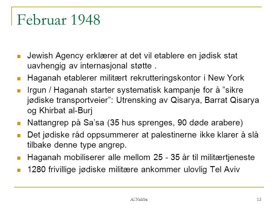 Februar 1948 Jewish Agency erklærer at det vil etablere en jødisk stat uavhengig av internasjonal støtte .