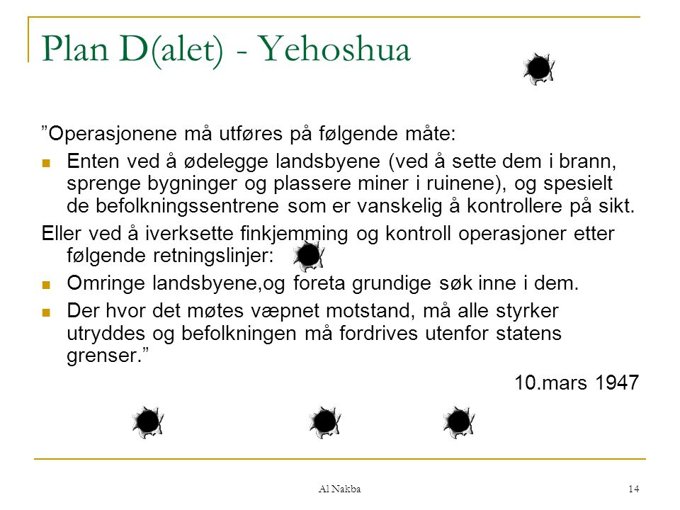 Plan D(alet) - Yehoshua