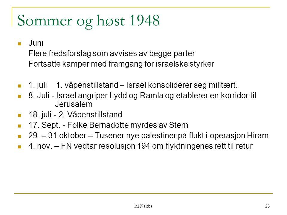 Sommer og høst 1948 Juni. Flere fredsforslag som avvises av begge parter. Fortsatte kamper med framgang for israelske styrker.
