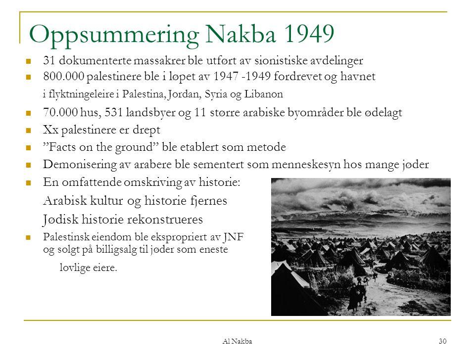 Oppsummering Nakba 1949 Arabisk kultur og historie fjernes