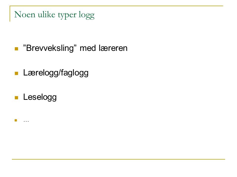 Noen ulike typer logg Brevveksling med læreren Lærelogg/faglogg