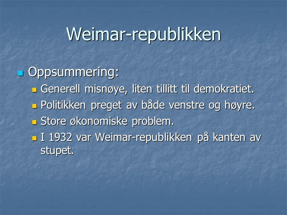 Weimar-republikken Oppsummering: