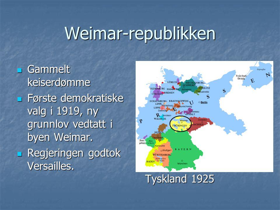 Weimar-republikken Gammelt keiserdømme