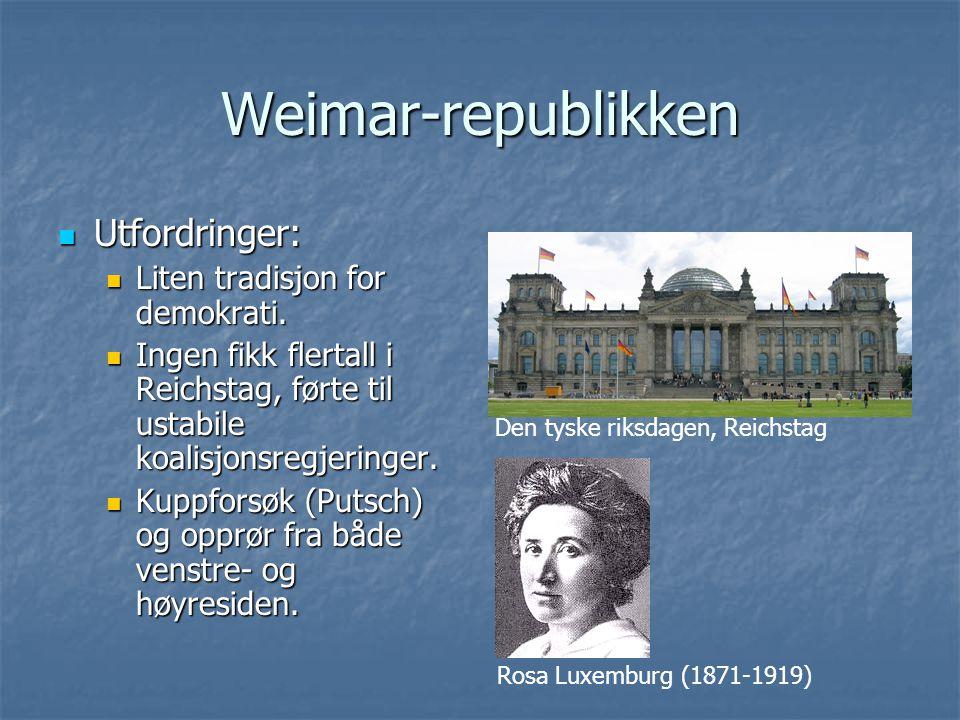 Weimar-republikken Utfordringer: Liten tradisjon for demokrati.