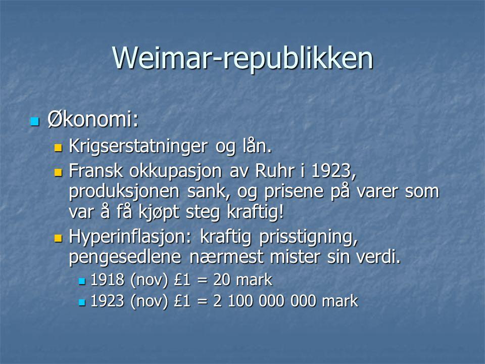 Weimar-republikken Økonomi: Krigserstatninger og lån.