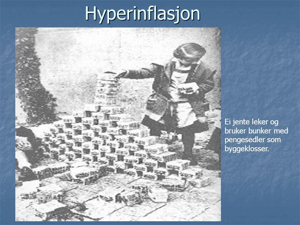 Hyperinflasjon Ei jente leker og bruker bunker med pengesedler som
