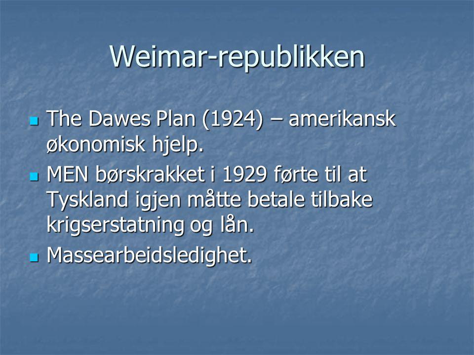 Weimar-republikken The Dawes Plan (1924) – amerikansk økonomisk hjelp.