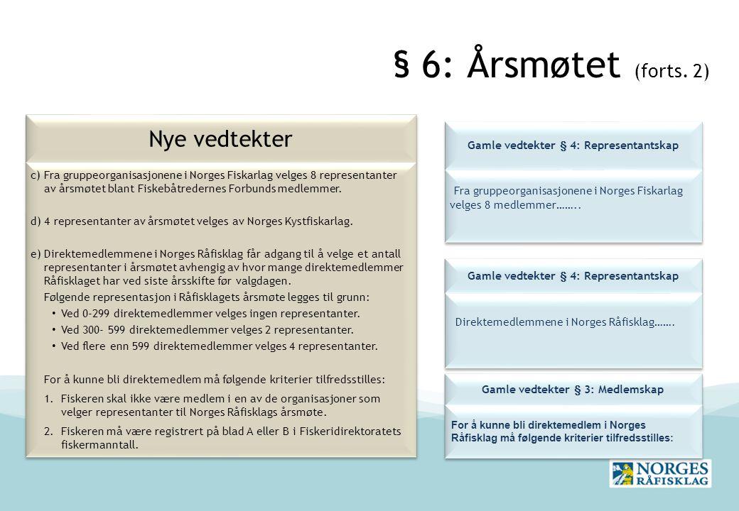 § 6: Årsmøtet (forts. 2) Nye vedtekter