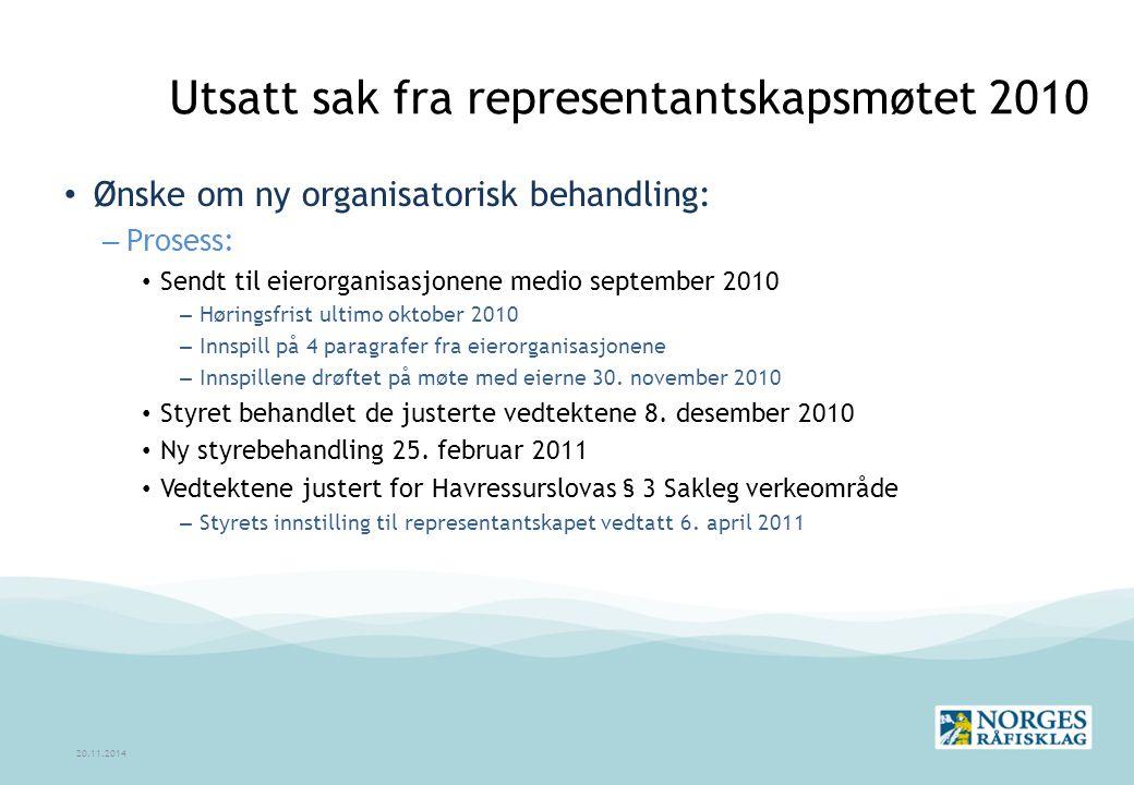 Utsatt sak fra representantskapsmøtet 2010