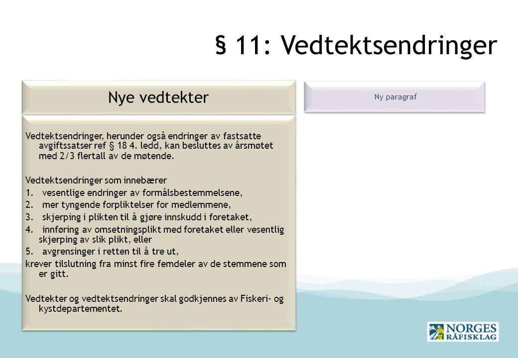 § 11: Vedtektsendringer Nye vedtekter