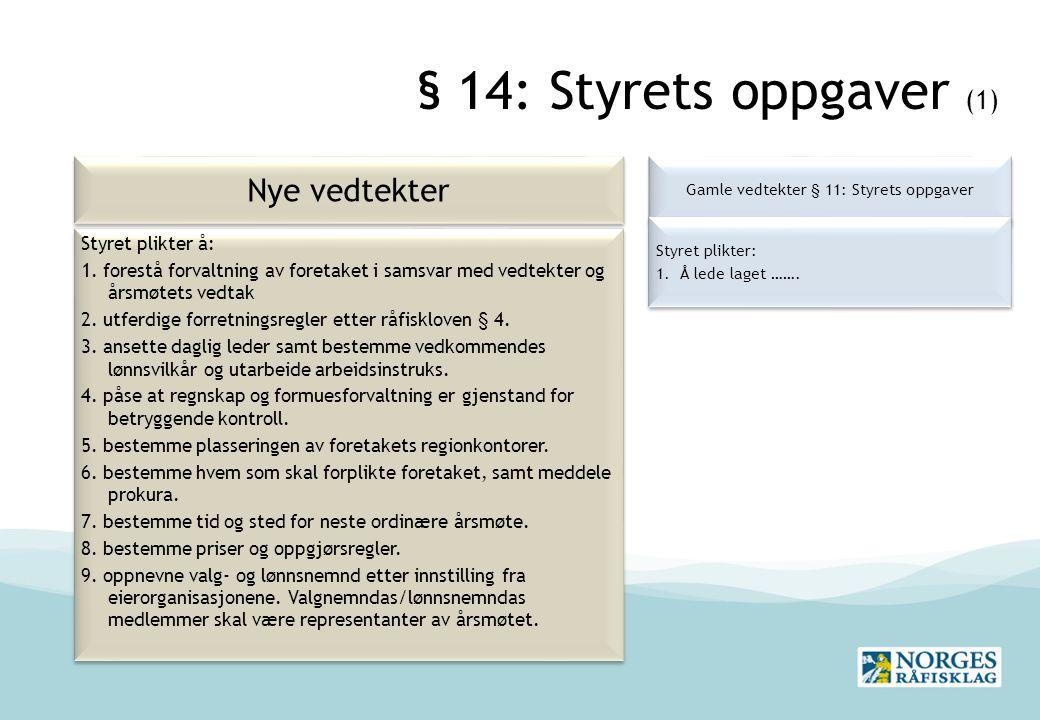 Gamle vedtekter § 11: Styrets oppgaver