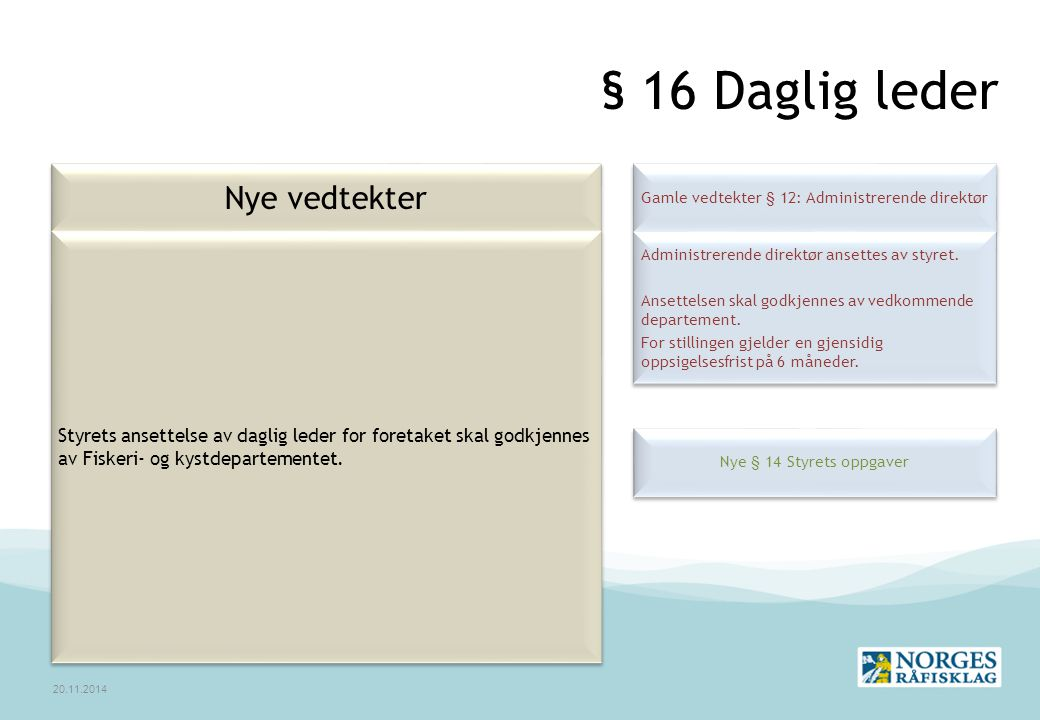 Gamle vedtekter § 12: Administrerende direktør