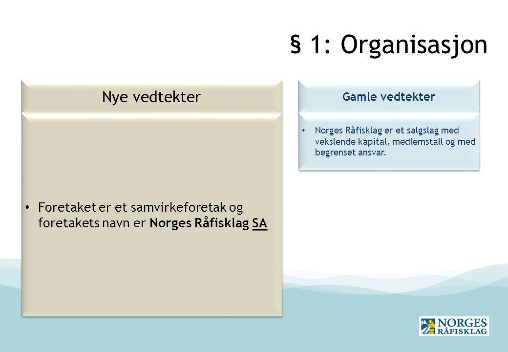 § 1: Organisasjon Nye vedtekter
