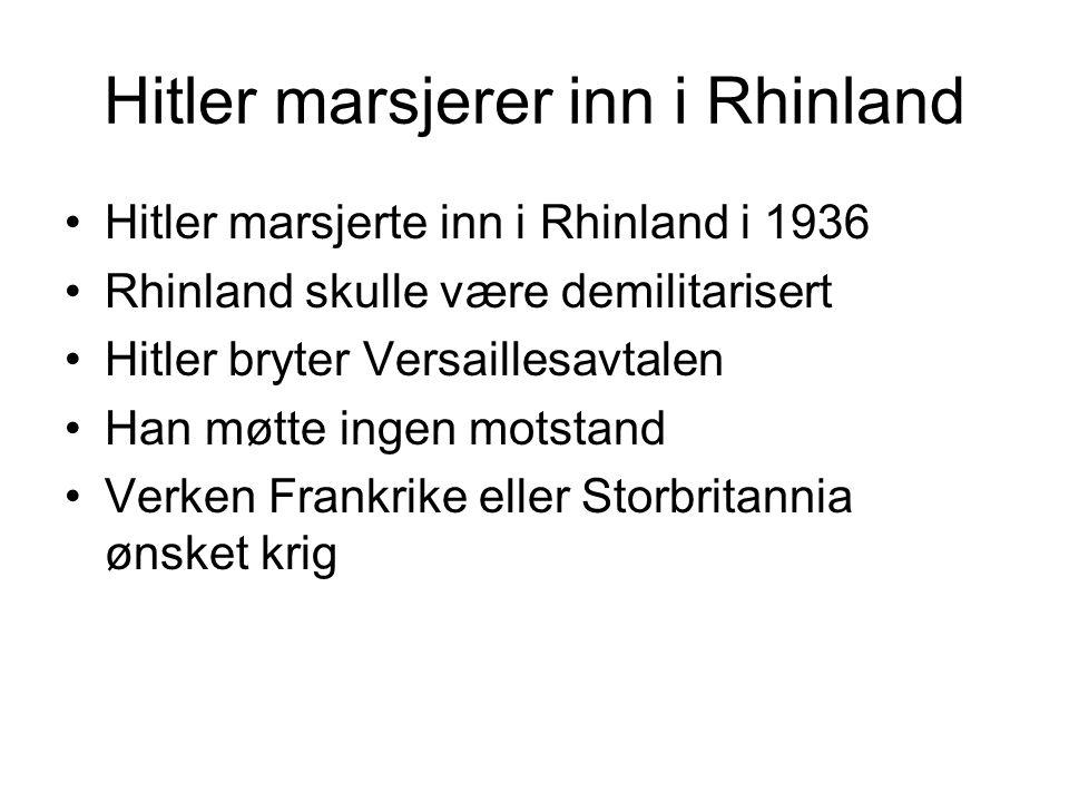 Hitler marsjerer inn i Rhinland