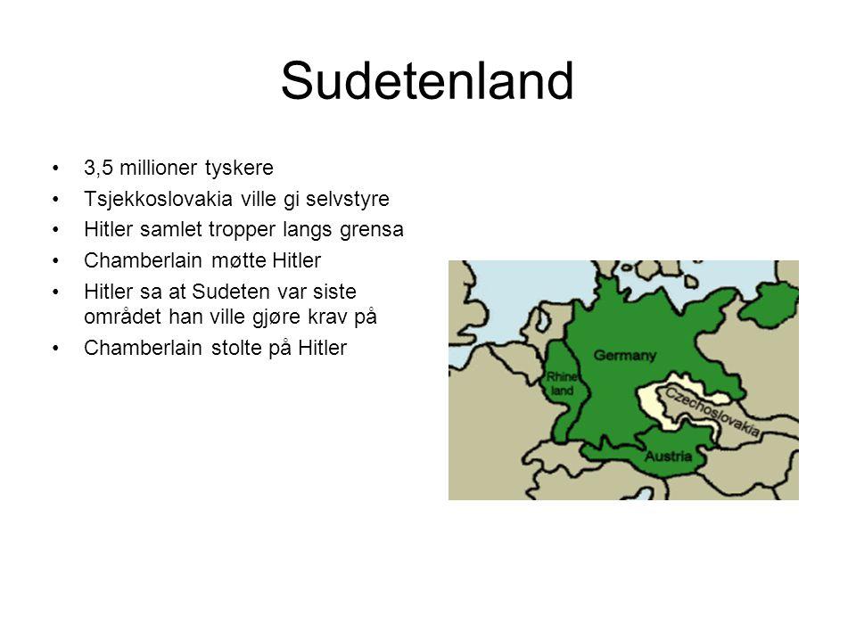 Sudetenland 3,5 millioner tyskere Tsjekkoslovakia ville gi selvstyre
