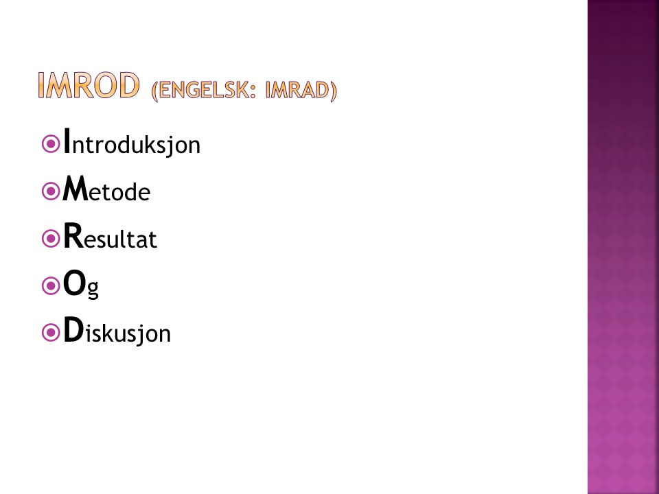 Imrod (engelsk: imrad)