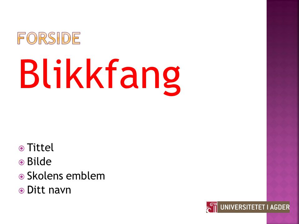 Forside Blikkfang Tittel Bilde Skolens emblem Ditt navn