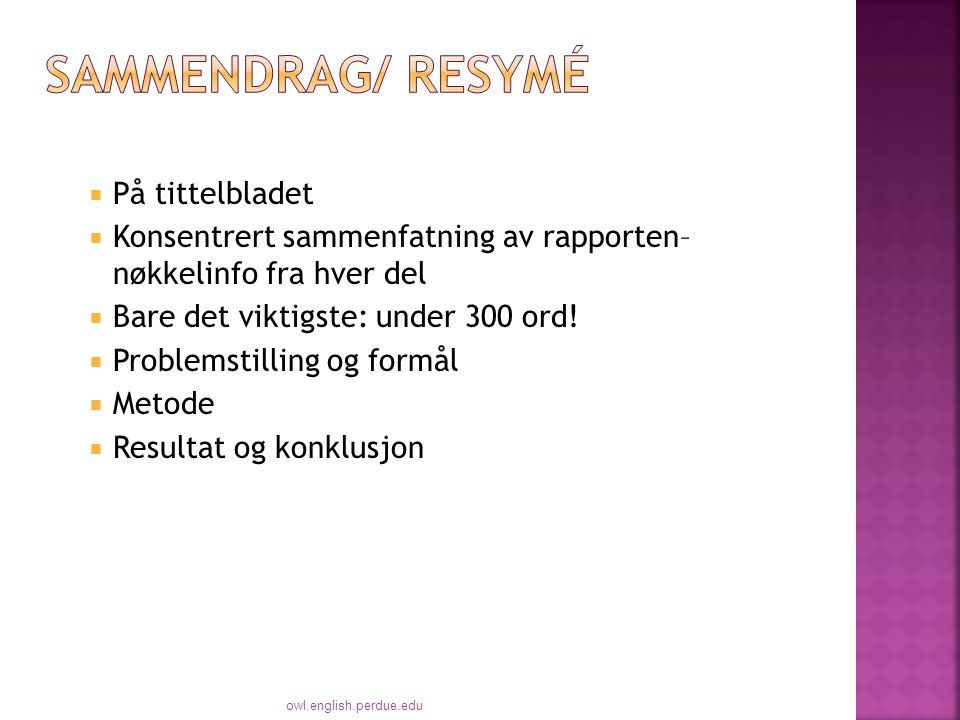Sammendrag/ resymé På tittelbladet