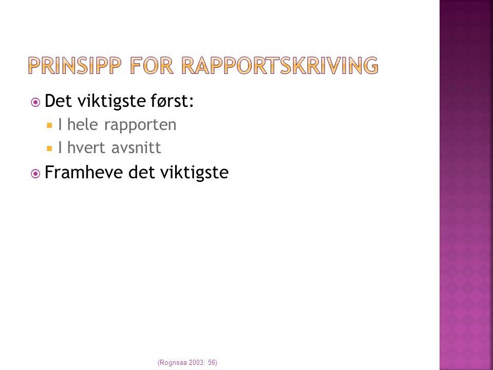 Prinsipp for rapportskriving