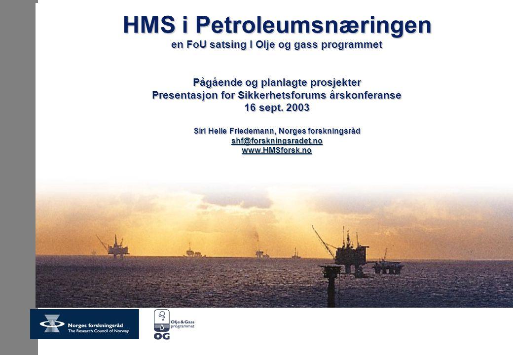 HMS i Petroleumsnæringen en FoU satsing I Olje og gass programmet Pågående og planlagte prosjekter Presentasjon for Sikkerhetsforums årskonferanse 16 sept. 2003 Siri Helle Friedemann, Norges forskningsråd shf@forskningsradet.no www.HMSforsk.no