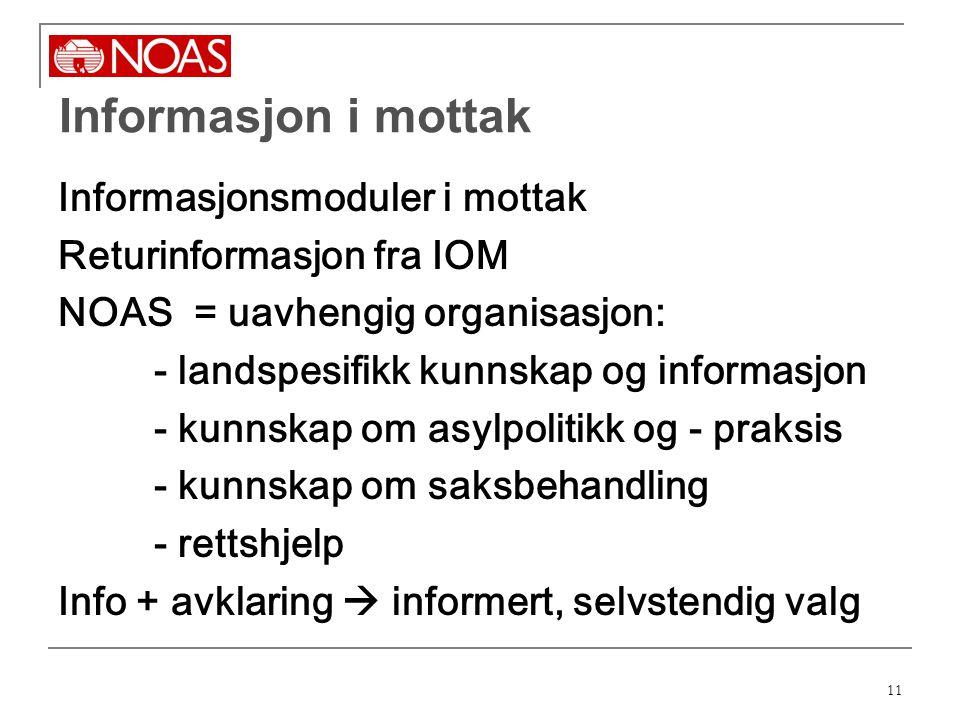 Informasjon i mottak Informasjonsmoduler i mottak