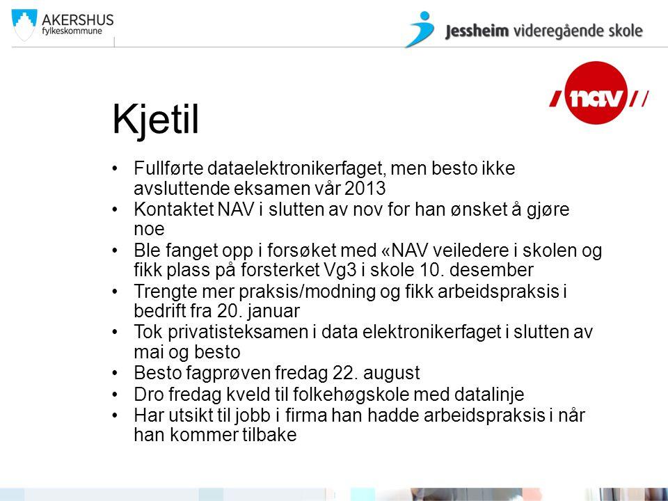 Kjetil Fullførte dataelektronikerfaget, men besto ikke avsluttende eksamen vår 2013. Kontaktet NAV i slutten av nov for han ønsket å gjøre noe.